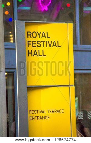 LONDON UK - JUNE 6 2015: The Royal Festival Hall sign, was built as part of the Festival of Britain national celebrations in 1951 is still in use as a major music and entertainment venue