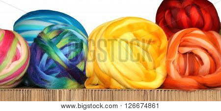 Many Colored Bobbins Of Soft Wool Of Sheep For Sale I