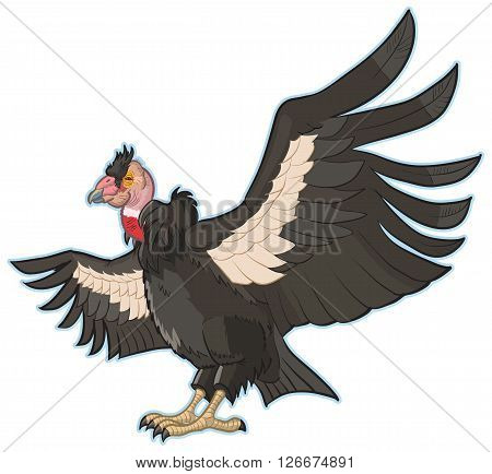 Vector Cartoon Clip Art Illustration of a California Condor with Spread Wings.
