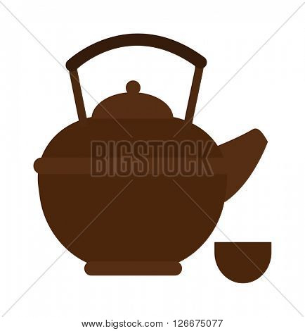 Stovetop whistling kettle kitchen teapot flat vector.