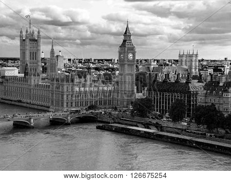 Black and white cityscape of London  with houses of Parliament Big Ben and Westminster Abbey . London UK