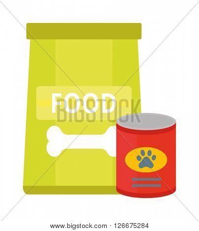 Dry dog treats in bowl and big bag of food animal snack canine nutrition vector illustration.