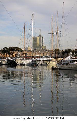 Barcelona, Catalonia, Spain - December 14, 2011: Yachts In Port Vell In Barcelona, Spain