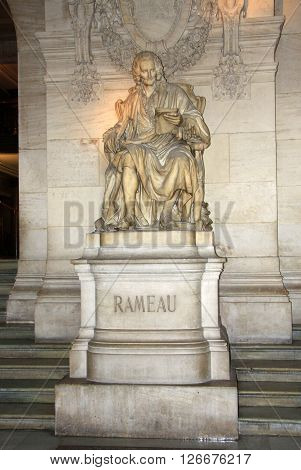 Paris, France - December 16, 2011: Statue Of Jean-philippe Rameau Inside Of Opera National De Paris