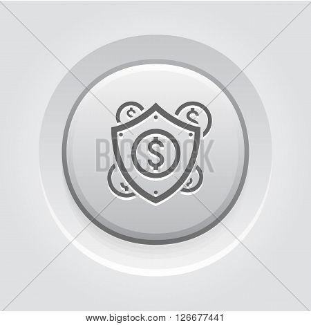 Secure Transactions Icon. Business Concept. Grey Button Design
