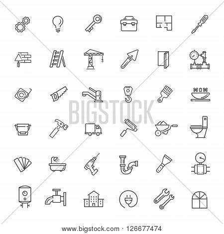 vector web icons set - construction, home repair tools