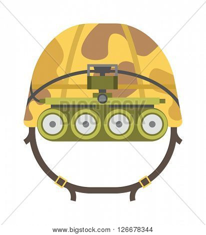 Military tactical helmet of rapid reaction army and police symbol defense vector illustration.