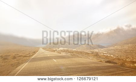 Asphalt Country Road Escape Straight Sunset Trip Concept