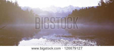 Solitude Remote South Island Lake Mountain Concept