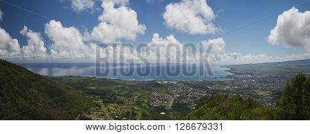 View of Wailuku and Kahului from Iao Valley, Maui, Hawaii, USA