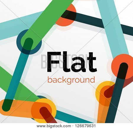 Colorful connected lines on white. Flat design abstract background