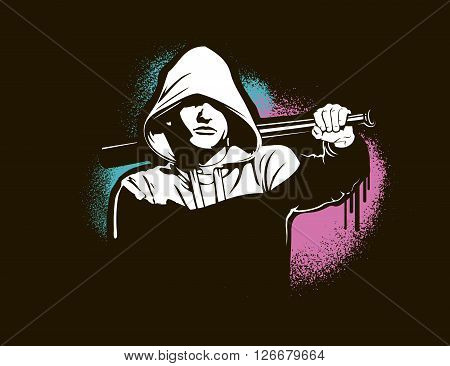 Bandit and hooligan - criminal nightlife. Vector illustration isolated on white