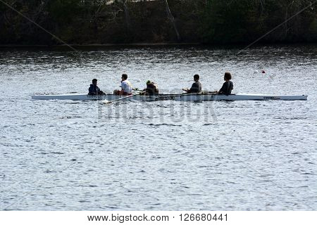 Mays Landing, New Jersey, USA  April 21, 2016  Part of a crew team on the water practicing.