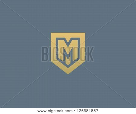 Abstract letter M shield logo design template. Premium nominal monogram business sign. Universal foundation vector icon
