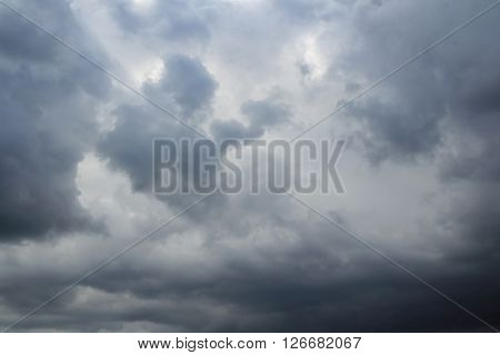 Stormy sky at summer evening. Thunderclouds over horizon rain gray.