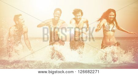 Young People Beach Vacation Concept
