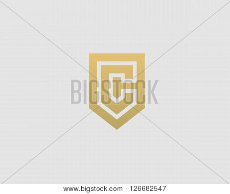 Abstract letter C shield logo design template. Premium nominal monogram business sign. Universal foundation vector icon