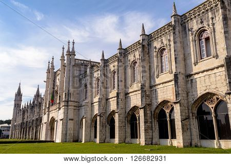 LISBON PORTUGAL - FEBRUARY 02 2016: Jeronimos Monastery. The Hieronymites Monastery is a monastery of the Order of Saint Jerome located near the shore of the parish of Belem in the Lisbon Municipality Portugal.