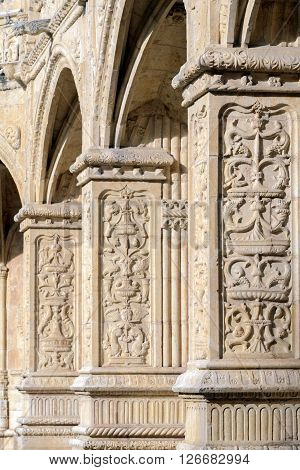 The column details at the Jeronimos Monastery in Lisbon Portugal.