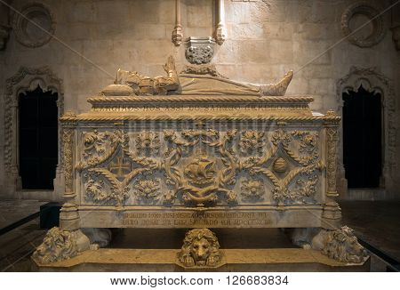 Tomb of Vasco da Gama in the Jeronimos Monastery a monastery of the Order of Saint Jerome located near the shore of the parish of Belém in the Lisbon Municipality Portugal.