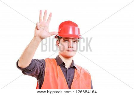 Man Worker Showing Four Fingers.