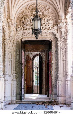 SINTRA PORTUGAL - FEBRUARY 04 2016: The main entrance portal of Quinta da Regaleira Sintra Portugal