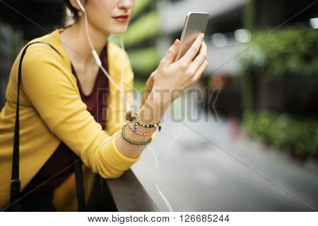 Girl Internet Technology Connection Digital Device Concept