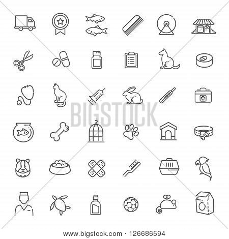 Outline web vector icon set - pet, vet, pet shop, types of pets