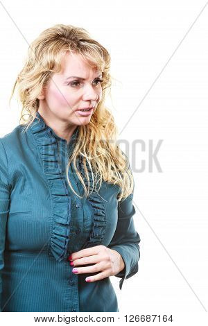 Stressed And Worried Blonde Woman