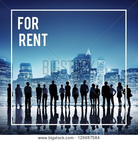 Global Business Team For Rent Cityscape Concept