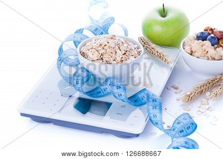 Electronic Kitchen Scale With Healthy Food
