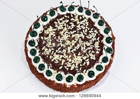 Schwarzwald Cake, Whipped Cream, Black and White Chocolate, Decoration, Green Cocktail Cherry Studio Photo