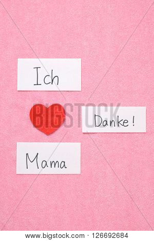 I Love Mom concept in German. 