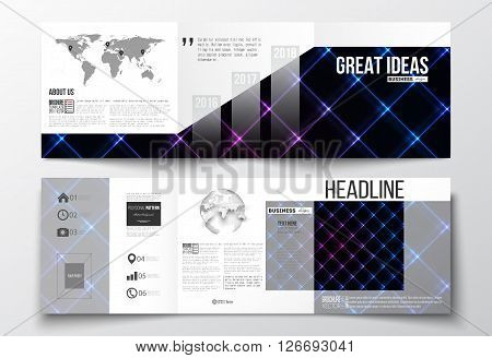 Vector set of tri-fold brochures, square design templates with element of world map and globe. Abstract polygonal background, modern stylish sguare vector texture.