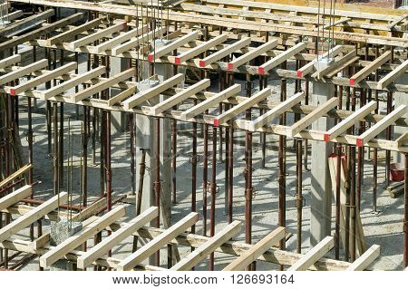 construction site with beams and columns