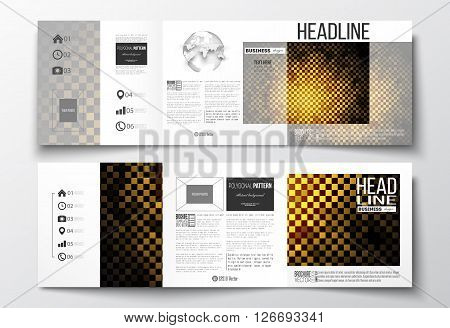 Vector set of tri-fold brochures, square design templates with element of world globe. Abstract polygonal background, modern stylish sguare design golden vector texture.