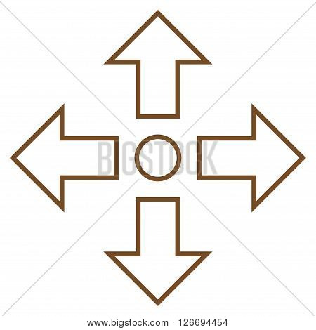 Maximize Arrows vector icon. Style is thin line icon symbol, brown color, white background.