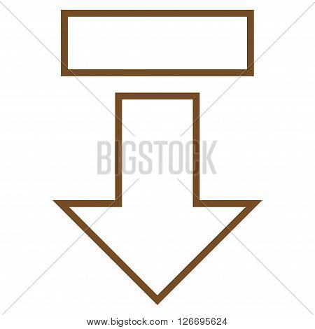 Pull Arrow Down vector icon. Style is thin line icon symbol, brown color, white background.