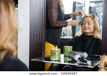 Woman Getting New Hairstyle In Parlor