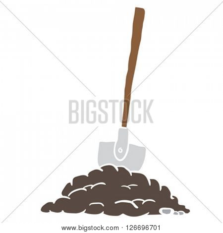 shovel in dirt cartoon