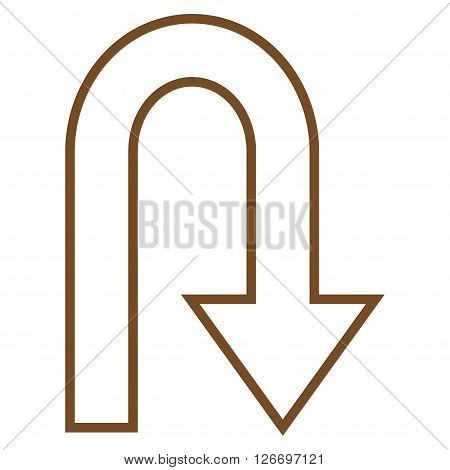 Turn Back vector icon. Style is contour icon symbol, brown color, white background.