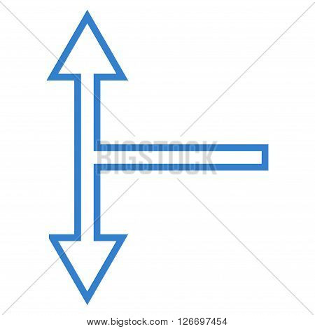 Bifurcation Arrow Up Down vector icon. Style is outline icon symbol, cobalt color, white background.