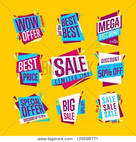 Sale banners. Isolated banners set. Best price banner. Big sale banner. Collection of sale banners. Bitmap illustration.