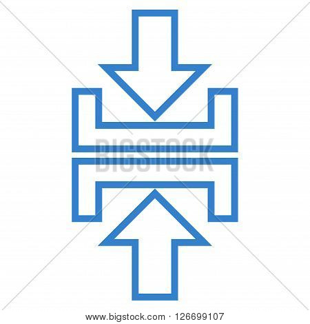 Pressure Arrows Vertical vector icon. Style is thin line icon symbol, cobalt color, white background.