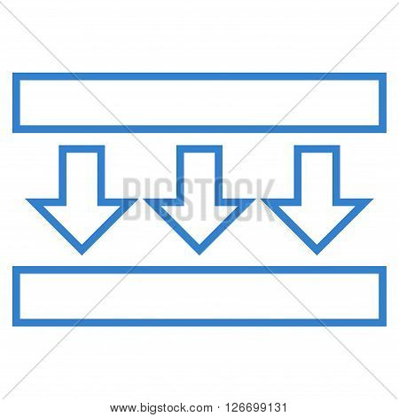 Pressure Down vector icon. Style is thin line icon symbol, cobalt color, white background.