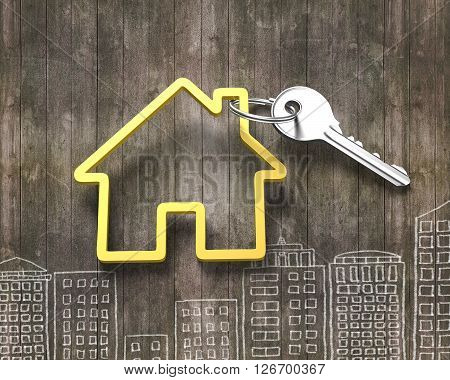 Silver Key And House Shape Key Ring