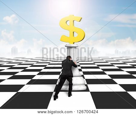 Man Pushing Money Chess Of Golden Dollar Currency