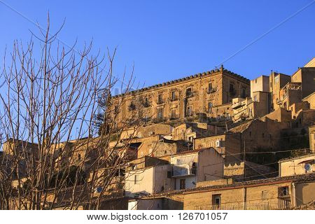 View of the Branciforti building in Leonforte Sicily