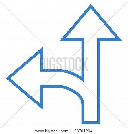 Split Direction Left Forward vector icon. Style is thin line icon symbol, cobalt color, white background.