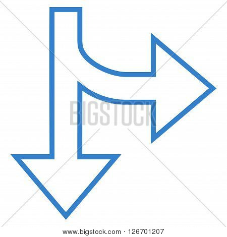 Split Direction Right Down vector icon. Style is thin line icon symbol, cobalt color, white background.